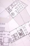 Plans de construction d'architecture, immeuble de bureaux Photo libre de droits