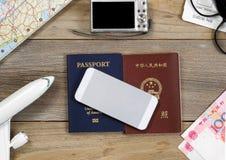 Plans de voyage chacun des deux dans et hors des Etats-Unis Images libres de droits