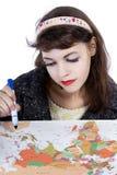 Plans de voyage de dessin sur une carte Image stock