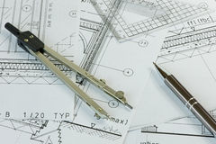 Plans and Drawing Equipment Royalty Free Stock Image