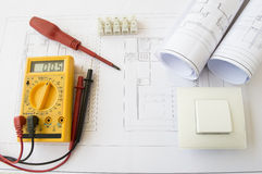 Plans and electrical tools royalty free stock images