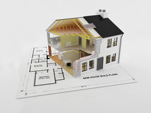 Plans for an energy efficient new come. Abstract cross section image of a new energy efficient new home Stock Photo