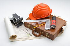 Plans and engineering. Tools about architecture and engineering plans Stock Photography