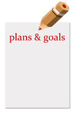Plans and goals. Writing down well defined plans and goals in life and business Royalty Free Stock Image