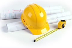 Plans, Hardhat and Measuring Tape Royalty Free Stock Image