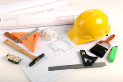 Plans, Hardhat, and Tools Royalty Free Stock Photo