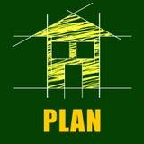 Plans House Represents Architect Habitation And Residence. Plans House Meaning Habitation Apartment And Layout Stock Photo