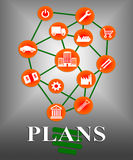 Plans Icons Shows Symbol Objective And Aspire. Plans Icons Representing Target Organizing And Planner stock illustration