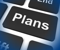 Plans Key Shows Objectives Planning And Organizing. Plans Key Showing Objectives Planning And Organizing Stock Image