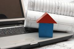 Plans and laptop. Construction concept Royalty Free Stock Photography