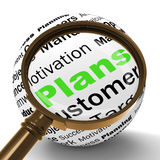 Plans Magnifier Definition Shows Customers Target Arrangement Or Stock Photo