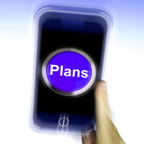 Plans On Mobile Phone Shows Objectives Planning And Organizing. Plans On Mobile Phone Showing Objectives Planning And Organizing Royalty Free Stock Photos