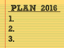 Plans for 2016. Notice list Royalty Free Stock Photography