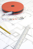 Plans and pencil_1. A photo of plans and measuring instruments Royalty Free Stock Photo