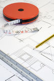 Plans and pencil_2. A photo of plans and measuring instruments Stock Images