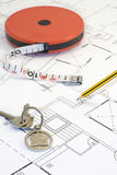 Plans and pencil_4. A photo of plans and measuring instruments Royalty Free Stock Images