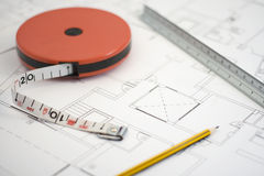Plans and pencil_5. A photo of plans and measuring instruments Royalty Free Stock Images