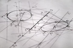 Plans pour la construction faite avec des rapidographs images stock