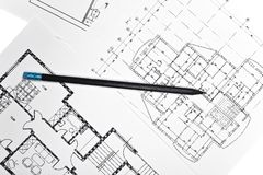 Plans for residential flats with  pencil Stock Photography