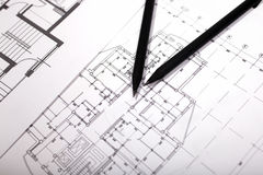 Plans for residential flats with pencil Royalty Free Stock Images