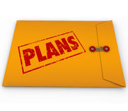 Plans Secret Confidential Envelope Covert Operations. The word Plans on a yellow confidential envelope containing hidden contents for a successful strategy or Stock Image