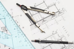 Plans And Tools. Architecture Plans And Tools: Compass, Pencil And Triangle Stock Photo