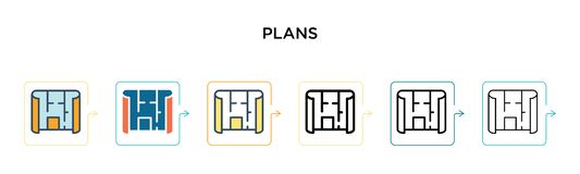 Plans vector icon in 6 different modern styles. Black, two colored plans icons designed in filled, outline, line and stroke style