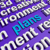 Plans In Word Cloud Shows Objectives Planning Royalty Free Stock Images