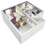 Plansikt av en lägenhet stock illustrationer