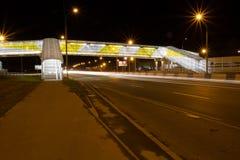 Planskild korsning för gångare på körbanan på natten Royaltyfria Foton
