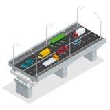 Planskild korsningvektorillustration Högstämd vägföreningspunkt och utbytesplanskild korsning Plant isometriskt begrepp 3d av sta royaltyfri illustrationer