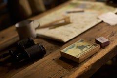 Planstrategie und Kartenarmee Stockfoto