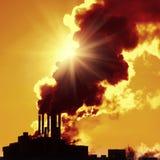 Plant. Power plant with yellow smoke Stock Photos