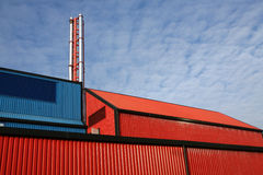 The Plant. Modern factory unit with colourful corrugated steel cladding Royalty Free Stock Photos