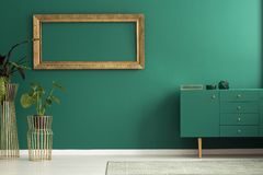 Simple green living room interior. Plant against the wall with empty gold frame in simple living room interior with green cupboard Royalty Free Stock Photo