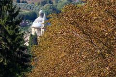 Plant in autumn. Plant in autumn and in the background the church of San Biagio in Montepulciano (central Italy Stock Photos