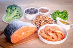 Plant-based and animal sources of Omega-3 acids Stock Photos