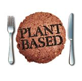 Plant Based Meat Alternative. As a vegan burger and fake animal protein representing a vegetarian hamburger  branded with cooked text with 3D illustration royalty free illustration