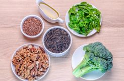 Plant-based sources of Omega-3 acids. On the wooden table Stock Photo
