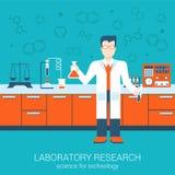 Plant begrepp för infographics för laboratorium för stilvektorillustration Arkivbilder