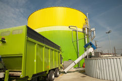 Plant: Biorenewable Energy. Biogas energetic valorization in italian plant. Biogas is produced through an anaerobic fermentation process of biomasses which can Stock Image