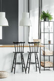Countertop with white lamps. Plant on black shelf next to black bar stools at countertop with white lamps in rustic dining room stock photos