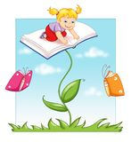 Plant of the book. Digital illustration of a child above an open book. The plant and the butterflies have the form of a book Stock Image