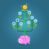 Plant with business symbols growing from piggy bank. Flat style vector illustration for investment or growth of business concept Royalty Free Stock Photos