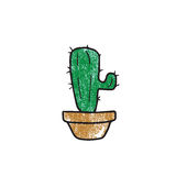Plant cactus in bowl stamp Royalty Free Stock Image