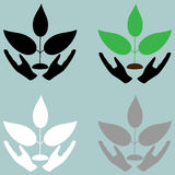 Plant in careful head icon. Plant in careful head icon set Stock Images