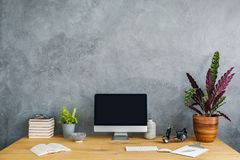 Plant, computer and books on a wooden desk set on a grey wall. P royalty free stock photo