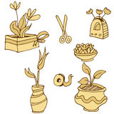 Plant Containers Icon Set Stock Photos