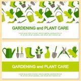 Plant designbaner för att arbeta i trädgården och växtomsorg vektor illustrationer