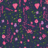 Plant draw seamless pattern Royalty Free Stock Photography